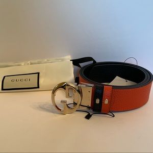 Gucci 1973 Reversible Black/ Orange Belt 95